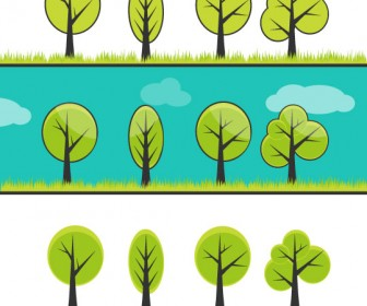 4 Trees Ecology Green Vector Graphics