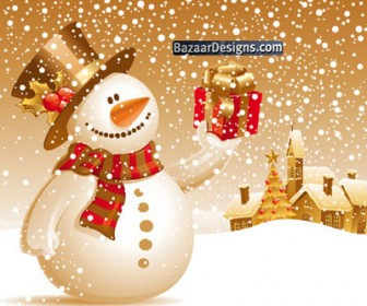 Snowman Gift Vector Graphic Art