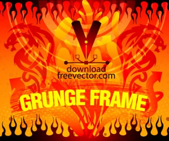 Orange Grunge Frame Vector Art