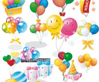 Colorful Balloon Gifts Vector Pack