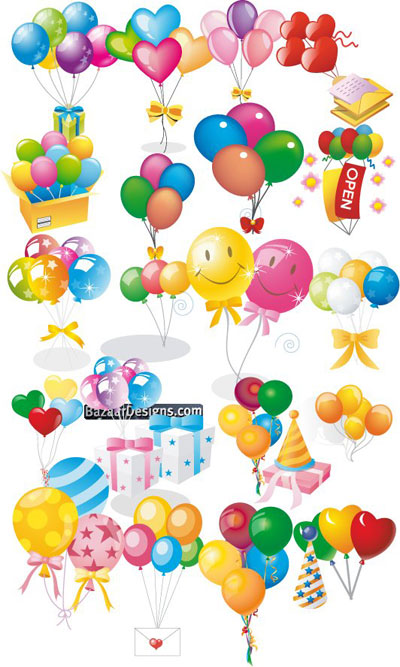 colorful balloon gifts vector pack download free vector