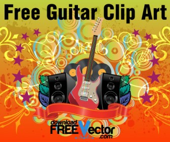 Free Guitar Graphics Art with Floral Background