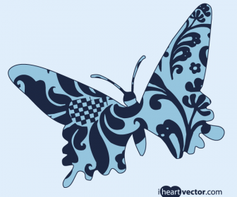 Butterfly Vector Art with Floral Patterns
