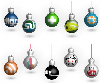 Free Christmas Social Icons Vector