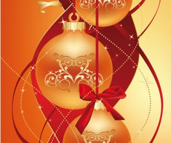 Christmas Balls Vector Graphics & Ribbon