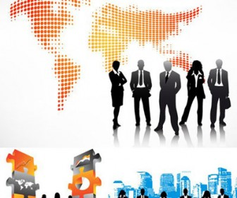 Business People Vector Silhouette & Wallpaper