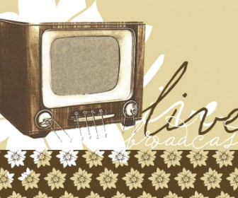 Vintage TV Vector with Flower Pattern