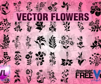 Vector Flower Silhouette Pack for Freebies