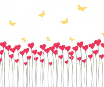 Valentine Vector with Heart & Butterfly