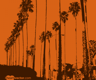 California Sunset Vector Graphics