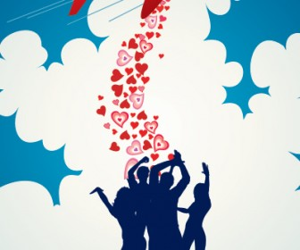 Love Aeroplane Vector Illustration