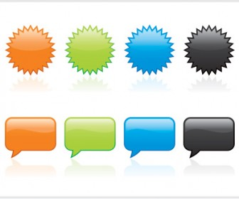 Free Button Vector Pack with Badges and Bubbles