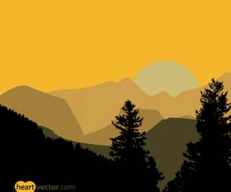 Hills and Trees Free Landscape Vector