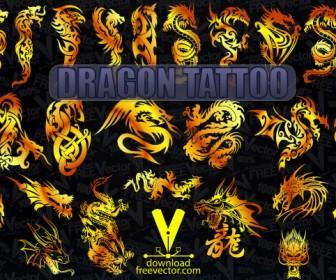 Gold Dragon Tattoo Vector Freebies