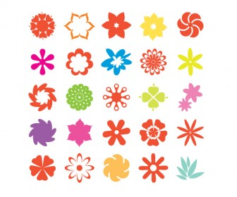 Flower Icons Vector Colorful Freebies