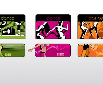 Dancing Banner with Card Style Free Vector Pack
