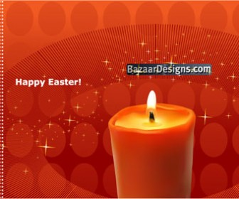 Candle and Stars Vector Easter Art Graphics
