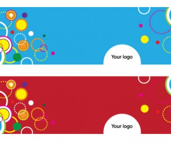 Two Sided Circle Banner Vector Graphic