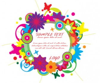 Colorful Flower Wreath Vector Banner