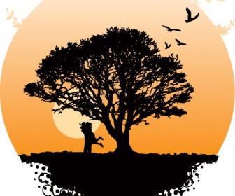 Silhouette Tree Free Vector Landscape