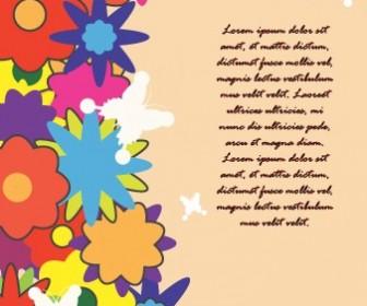 Colorful Flower Card Vector Illustration Art