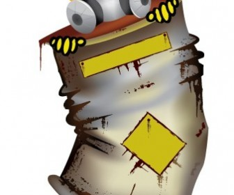 Character in Radioactive Material Barrel Vector Graphics