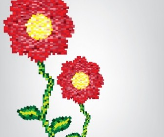 Flower Card Pixels Template