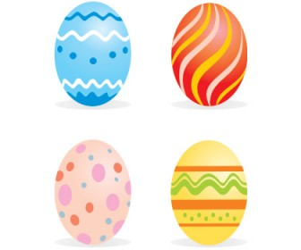 4 Easter Eggs Free Vector Art