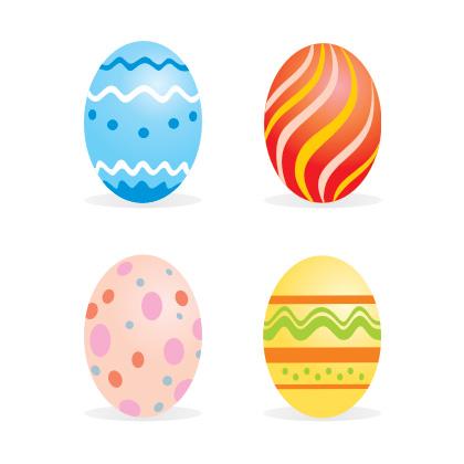 4 easter eggs - free vector art