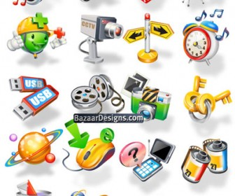 Beautiful 3D Icons Vector Pack