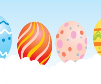 Easter Eggs Banner Graphic Vector