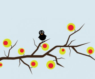 Sad Sparrow Landscape Vector