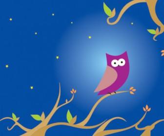 Night Owl Cartoon Illustration Vector Art