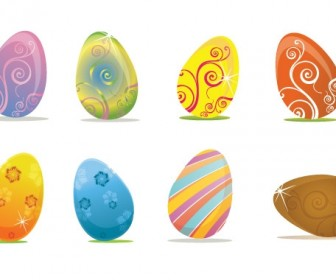 8 Easter Eggs Colorful Free Vector Art