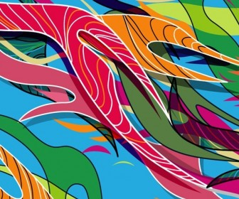 Abstract Colored Curve Illustration