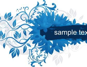 Blue Floral Frame Label