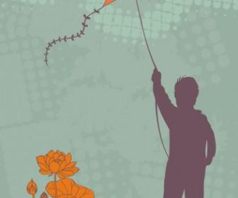 Boy & Kite Vector