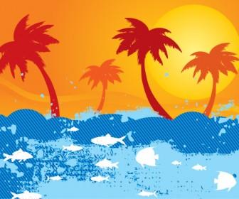 Sunset Landscape on Ocean Vector