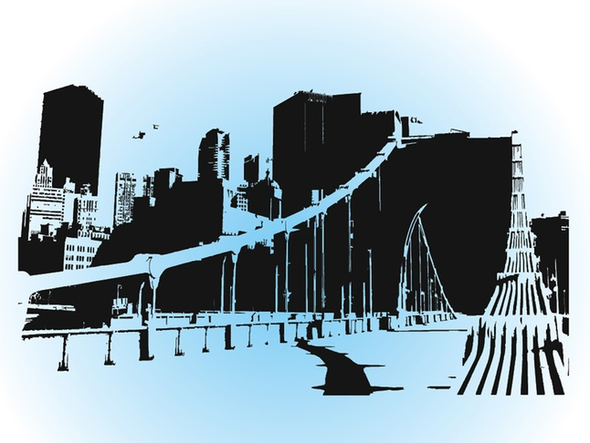 City Silhouette Building Free Vector Art