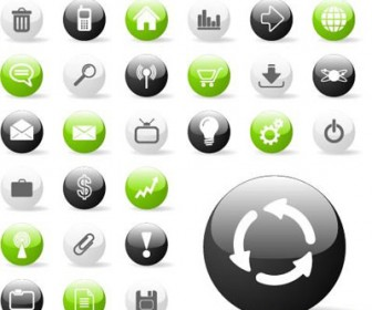 Glossy Circle Button Icons