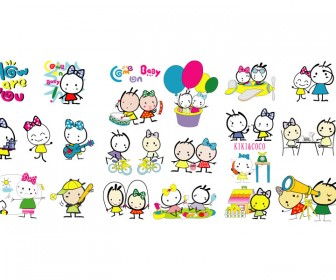 Kiki-Coco Cartoon Character Icons