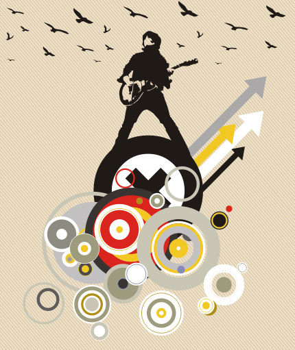 Playing Guitar Card Background Free Vector Art