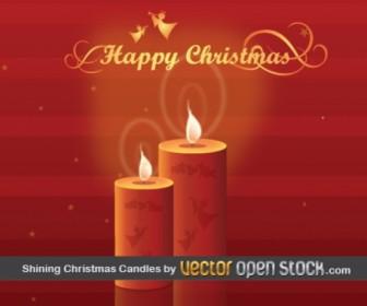 Christmas Candles Holiday Vector Card