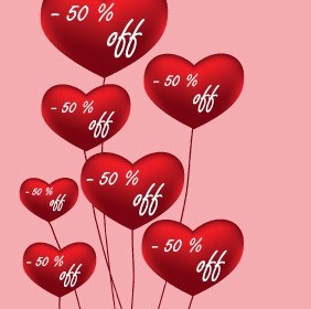 Red Love Balloons Vector