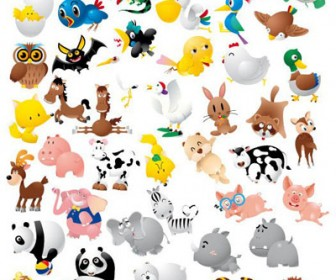 Animal Icon Set Funny Cartoon Graphics