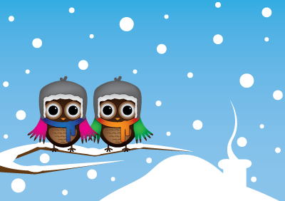Owls on Branch - Free Vector Art