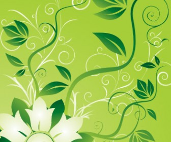 Flower and Swirl Vector Background