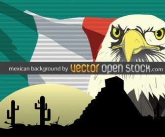Eagle Hand Draw on Mexican Background