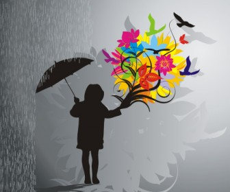 Flowers & Rain Graphics Vector