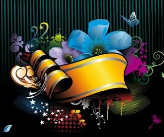 Colorful Floral Banner Art